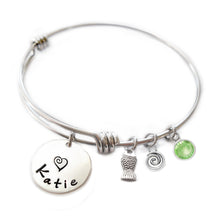 Load image into Gallery viewer, Personalized FISH Bangle Bracelet with Sterling Silver Name