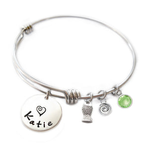 Personalized FISH Bangle Bracelet with Sterling Silver Name
