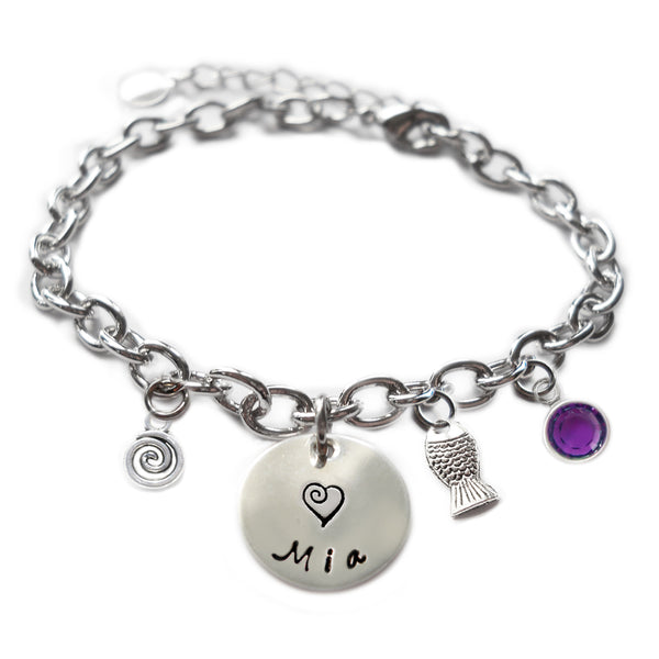 Personalized FISH Sterling Silver Name Charm Bracelet
