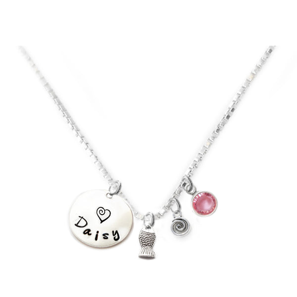 Personalized FISH Charm Necklace with Sterling Silver Name