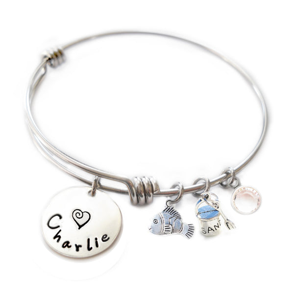 Personalized FUN FISHIE Bangle Bracelet with Sterling Silver Name