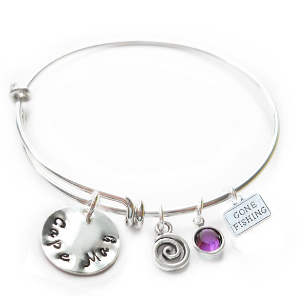 Cape May NJ Flat Mini Sterling Silver Beach Bangle with Swarovski Crystal
