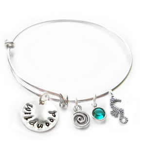 Wildwood NJ Flat Mini Sterling Silver Beach Bangle with Swarovski Crystal