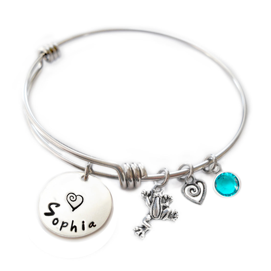 Personalized FROG Bangle Bracelet with Sterling Silver Name