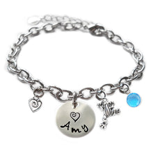 Load image into Gallery viewer, Personalized FROG Sterling Silver Name Charm Bracelet