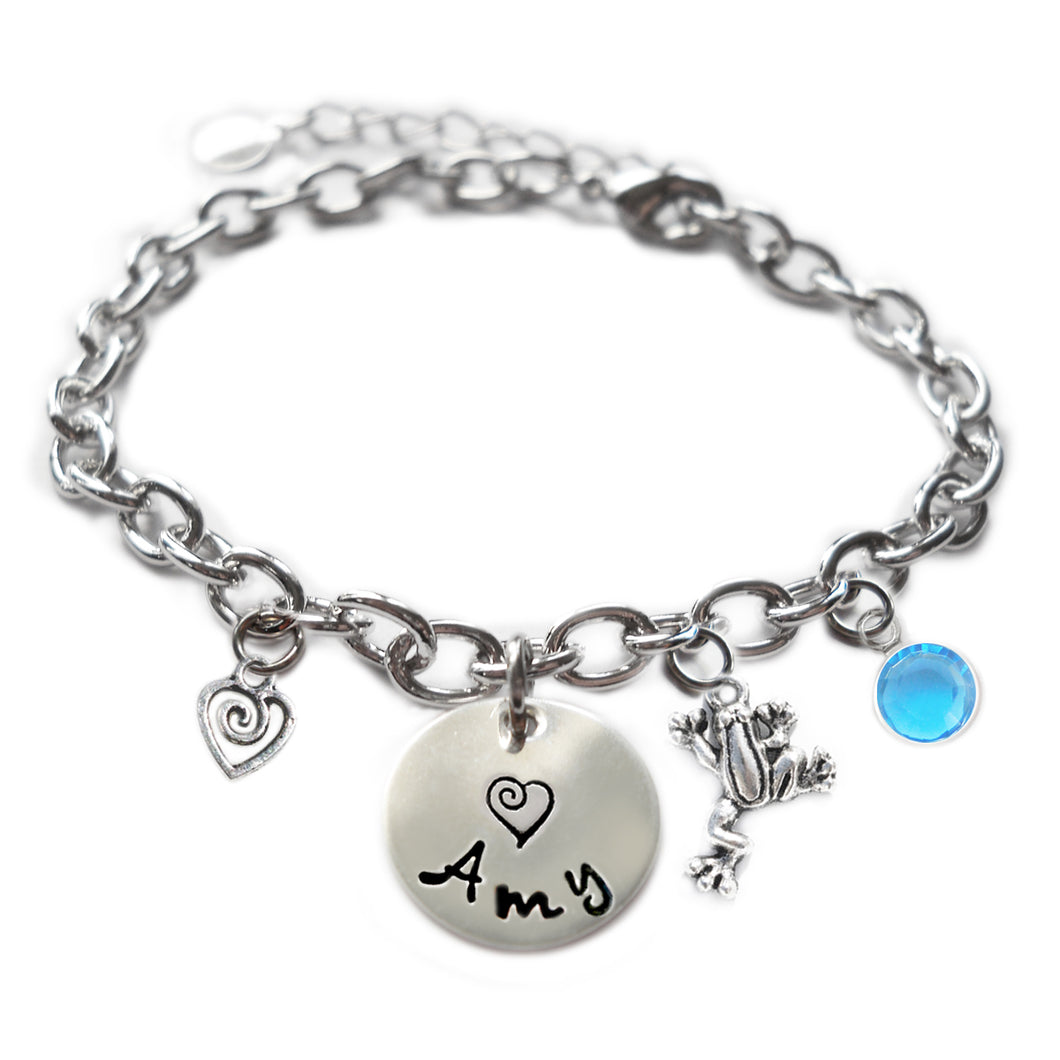 Personalized FROG Sterling Silver Name Charm Bracelet