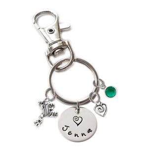 Personalized FROG Swivel Key Clasp with Sterling Silver Name