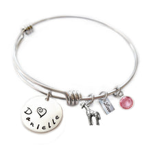 Load image into Gallery viewer, Personalized GIRAFFE Bangle Bracelet with Sterling Silver Name