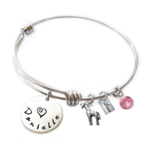 Personalized GIRAFFE Bangle Bracelet with Sterling Silver Name