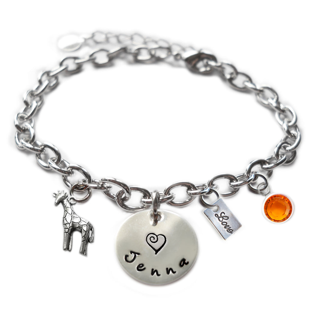 Personalized GIRAFFE Sterling Silver Name Charm Bracelet