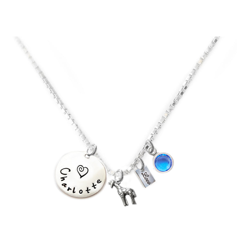 Personalized GIRAFFE Charm Necklace with Sterling Silver Name