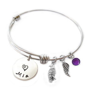 Personalized HAWK Bangle Bracelet with Sterling Silver Name