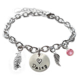 Personalized HAWK Sterling Silver Name Charm Bracelet