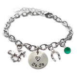 Personalized HORSE Sterling Silver Name Charm Bracelet