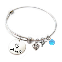 Load image into Gallery viewer, Personalized HUMMINGBIRD Bangle Bracelet with Sterling Silver Name