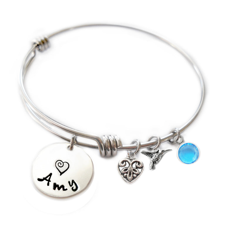 Personalized HUMMINGBIRD Bangle Bracelet with Sterling Silver Name
