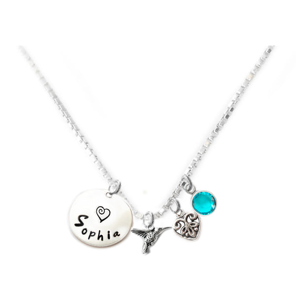 Personalized HUMMINGBIRD Charm Necklace with Sterling Silver Name