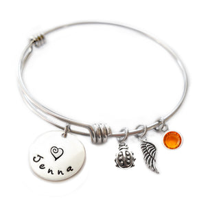 Personalized LADYBUG Bangle Bracelet with Sterling Silver Name