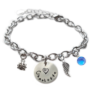 Personalized LADYBUG Sterling Silver Name Charm Bracelet