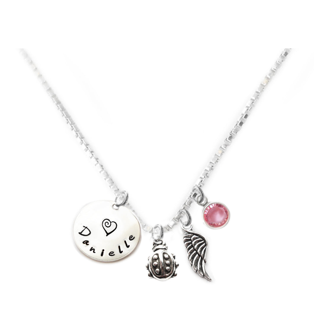 Personalized LADYBUG Charm Necklace with Sterling Silver Name