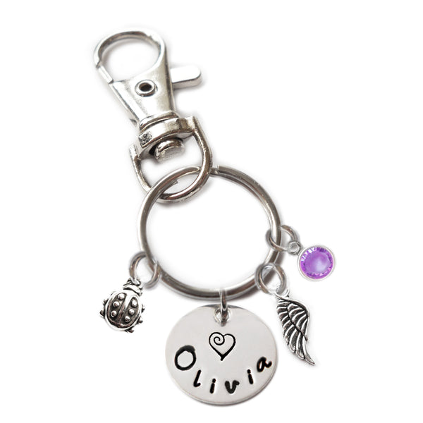 Personalized LADYBUG Swivel Key Clasp with Sterling Silver Name