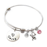 Personalized LIZARD Bangle Bracelet with Sterling Silver Name