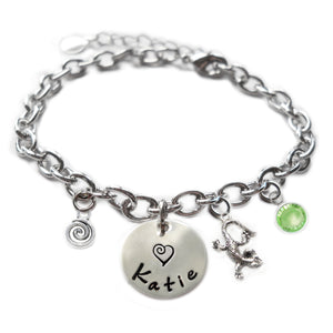 Personalized LIZARD Sterling Silver Name Charm Bracelet