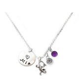 Personalized LIZARD Charm Necklace with Sterling Silver Name