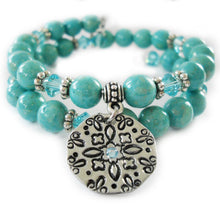 Load image into Gallery viewer, Mandala Turquoise Hammered Memory Bracelet Class