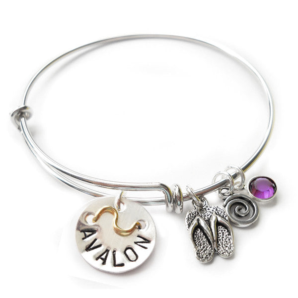 Avalon NJ Mini Beach Badge Bangle