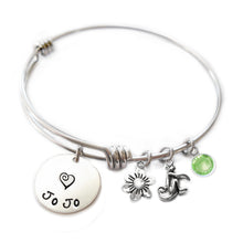 Load image into Gallery viewer, Personalized MONKEY Bangle Bracelet with Sterling Silver Name