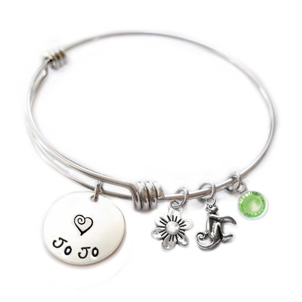 Personalized MONKEY Bangle Bracelet with Sterling Silver Name