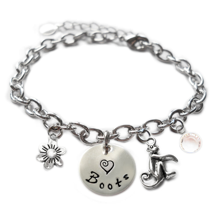 Personalized MONKEY Sterling Silver Name Charm Bracelet