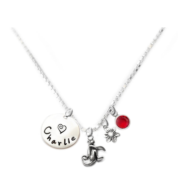 Personalized MONKEY Charm Necklace with Sterling Silver Name