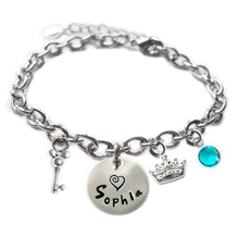 Load image into Gallery viewer, Personalized MOUSE EARS AND CROWN Sterling Silver Name Charm Bracelet