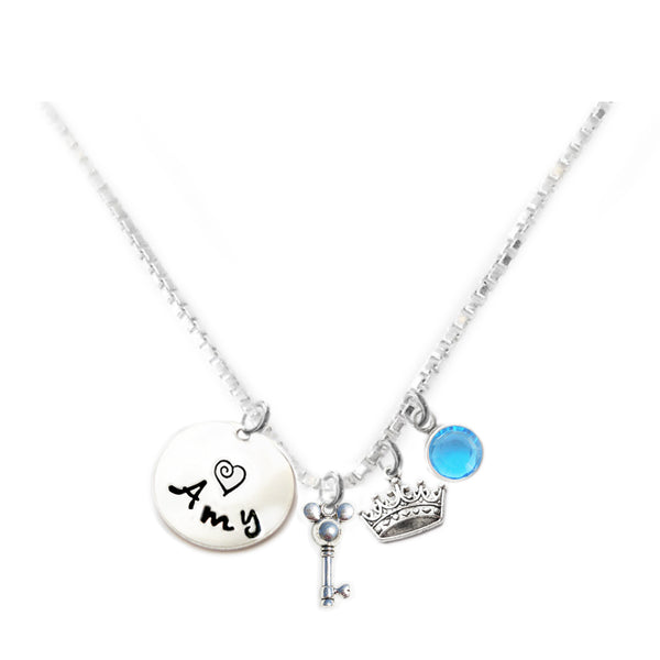 Personalized MOUSE EARS AND CROWN Charm Necklace with Sterling Silver Name