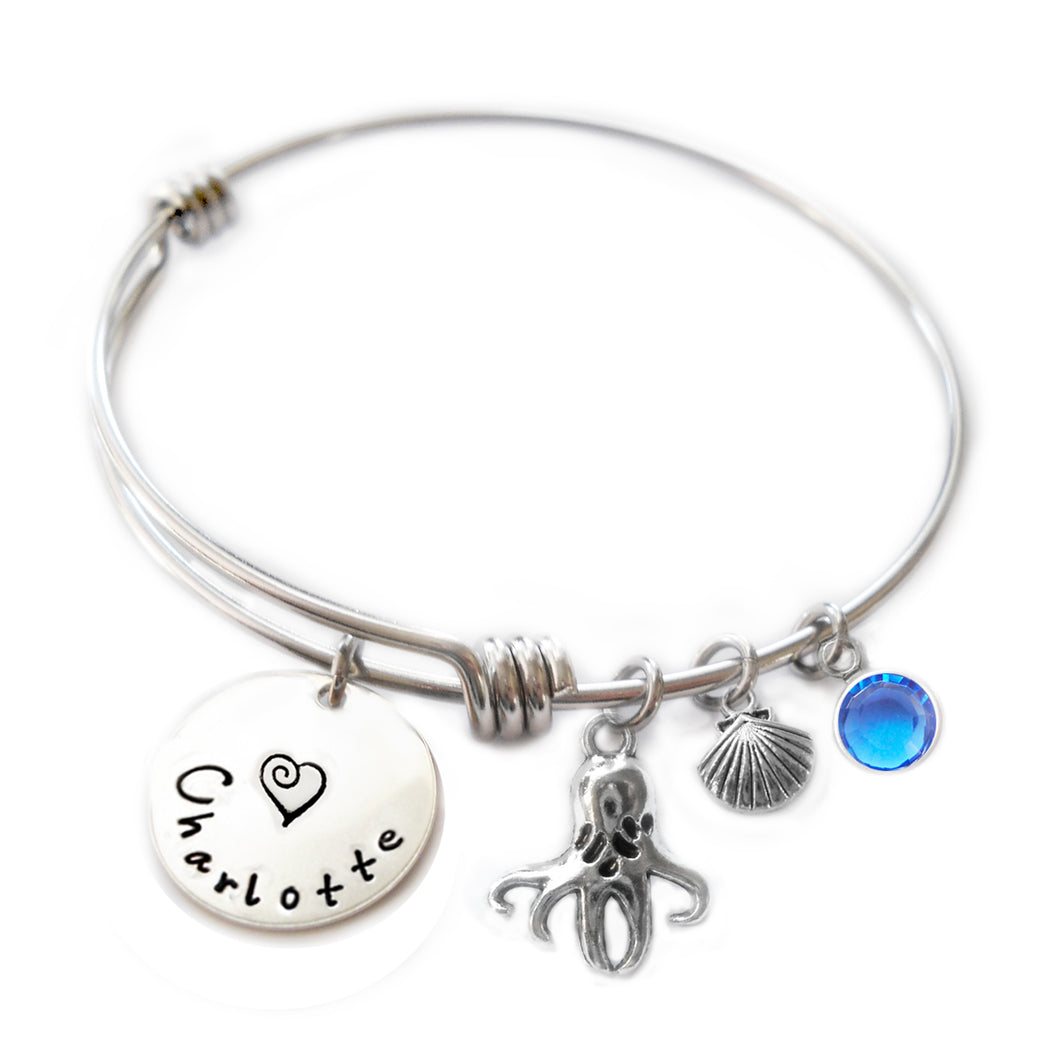 Personalized OCTOPUS Bangle Bracelet with Sterling Silver Name
