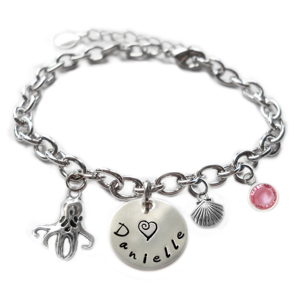 Personalized OCTOPUS Sterling Silver Name Charm Bracelet