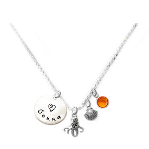 Personalized OCTOPUS Charm Necklace with Sterling Silver Name