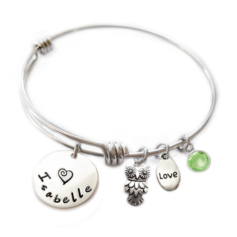 Personalized OWL Bangle Bracelet with Sterling Silver Name
