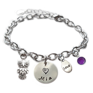 Personalized OWL Sterling Silver Name Charm Bracelet