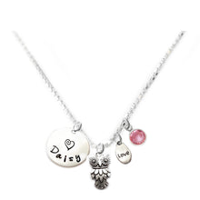 Load image into Gallery viewer, Personalized OWL Charm Necklace with Sterling Silver Name