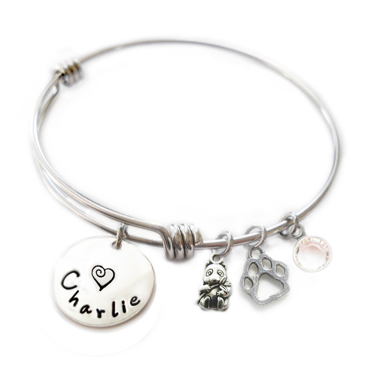 Personalized PANDA BEAR Bangle Bracelet with Sterling Silver Name