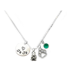 Load image into Gallery viewer, Personalized PANDA BEAR Charm Necklace with Sterling Silver Name
