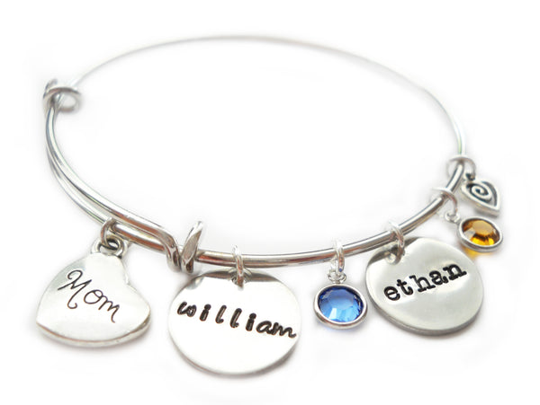 Personalized Names Pewter Disc with Dangling Birthstone for Mom