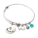 Personalized PIG Bangle Bracelet with Sterling Silver Name