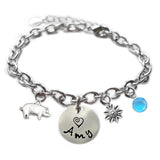 Personalized PIG Sterling Silver Name Charm Bracelet
