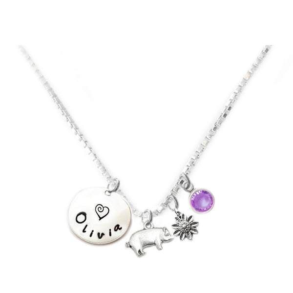 Personalized PIG Charm Necklace with Sterling Silver Name