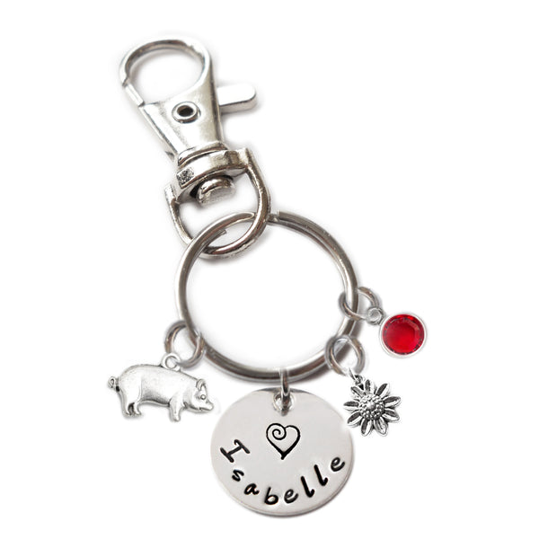 Personalized PIG Swivel Key Clasp with Sterling Silver Name