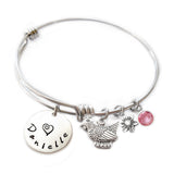 Personalized ROOSTER Bangle Bracelet with Sterling Silver Name